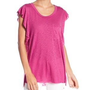 Free People So Easy Tee Pink Ruffle T-Shirt Large